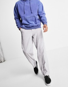 Серые вельветовые брюки свободного кроя в крупный рубчик ASOS DESIGN-Серый
