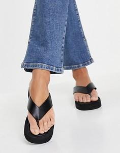 Черные сандалии на платформе с ремешком между пальцами Missguided-Черный цвет