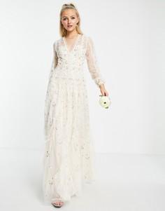 Свадебное платье макси цвета слоновой кости с цветочной вышивкой Needle & Thread Frieda Ditsy-Белый