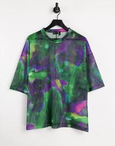 Сетчатая футболка в стиле oversized со сплошным принтом ASOS DESIGN-Многоцветный