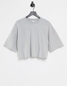 Серая выбеленная футболка прямого кроя Topshop-Серый
