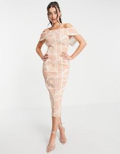 Платье-карандаш миди с решетчатым принтом и отворотом спереди ASOS DESIGN-Многоцветный