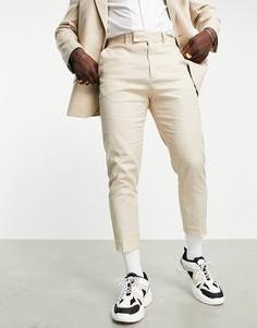 Зауженные брюки с добавлением льна нейтрального цвета ASOS DESIGN-Светло-бежевый