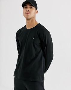 Мягкий хлопковый лонгслив черного цвета для дома Polo Ralph Lauren-Черный цвет