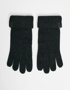 Черные меланжевые перчатки из мериносовой шерсти AllSaints-Черный цвет