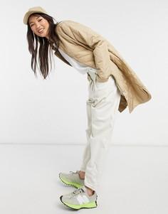 Удлиненное стеганое пальто бежевого цвета Selected Femme-Бежевый