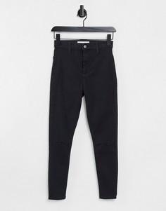 Черные зауженные джинсы с двойной рваной отделкой на коленях Topshop Joni-Черный