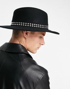 Черная шляпа с плоской круглой тульей, широкими полями, отделкой заклепками и регулятором размера ASOS DESIGN-Черный цвет