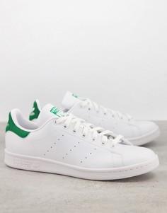 Белые кроссовки с зеленой накладкой из экологичных материалов adidas Originals Stan Smith-Белый