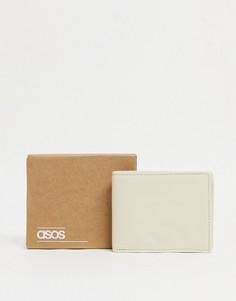 Светло-бежевый кожаный кошелек двойного сложения ASOS DESIGN-Нейтральный