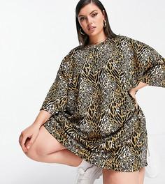 Коричневое платье-футболка в стиле oversized с фактурным леопардовым принтом ASOS DESIGN Curve-Коричневый цвет