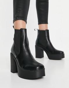 Черные ботинки на массивной платформе с каблуком Lamoda Picknmix-Черный
