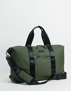 Спортивная сумка с тисненой лентой Consigned-Зеленый цвет