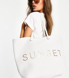 """Белая парусиновая пляжная сумка с надписью """"Sunset"""" South Beach-Белый"""