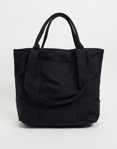 Черная oversized сумка-тоут из плотной ткани из органического хлопка с ручкой и длинным ремешком ASOS DESIGN-Черный цвет