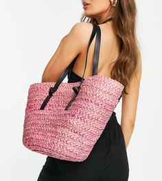 Соломенная сумка-тоут розового цвета South Beach-Розовый цвет