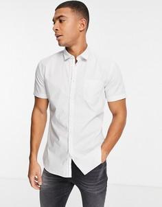 Белая рубашка с короткими рукавами BOSS Magneton-Белый
