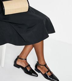 Черные туфли на плоской подошве с острым носком для широкой стопы ASOS DESIGN Wide Fit Malay-Черный цвет