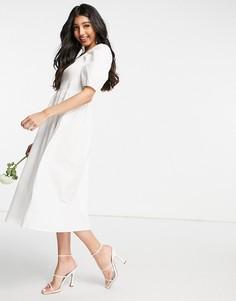 Белое свадебное платье миди из поплина с присборенным топом и пышными рукавами Y.A.S-Белый