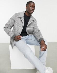 Куртка-бомбер из ткани с добавлением шерсти в серую клетку ASOS DESIGN-Серый