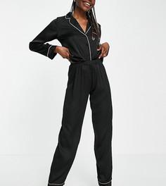 Черная атласная пижама с рубашкой с длинными рукавами и штанами ASOS DESIGN Tall-Черный