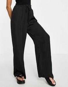 Черные свободные брюки с широкими штанинами Stradivarius-Черный