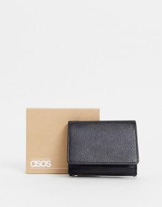 Черный кожаный бумажник «2 в 1» со съемной визитницей ASOS DESIGN