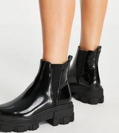 Черные ботинки челси на массивной подошве для широкой стопы ASOS DESIGN Wide Fit Addy-Черный