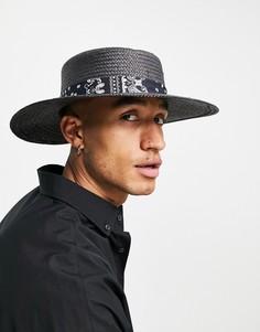 Черная соломенная шляпа регулируемого размера с широкими полями и лентой с узором пейсли ASOS DESIGN-Черный