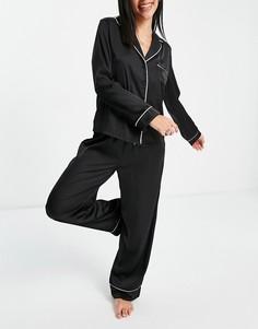 Черная атласная пижама с рубашкой с длинными рукавами и брюками ASOS DESIGN-Черный