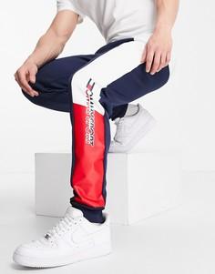Флисовые джоггеры с графическим принтом Tommy Hilfiger Sport-Темно-синий