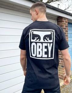 Черная футболка с графическим принтом глаз на спинке Obey-Черный