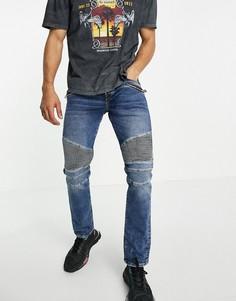 Зауженные джинсы в байкерском стиле True Religion Rocco-Голубой