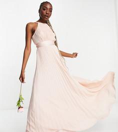Плиссированное платье-сарафан макси для подружки невесты с атласным поясом ASOS DESIGN Tall Bridesmaid-Розовый цвет