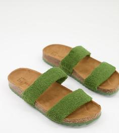 Эксклюзивные шлепанцы оливкового цвета с двумя ремешками из махровой ткани South Beach-Зеленый цвет