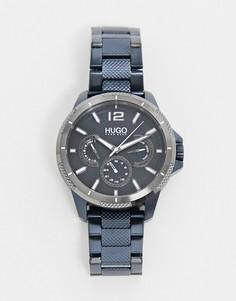 Мужские часы с темно-синим ремешком-браслетом Hugo-Темно-синий