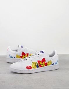 Белые кроссовки с цветочным принтом adidas Originals Sustainable Stan Smith-Белый