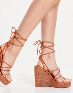 Терракотовые туфли на танкетке с квадратным носком и ремешками-шнурками ASOS DESIGN Trace-Оранжевый цвет