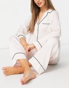 Розовая атласная пижама с рубашкой с длинными рукавами и брюками ASOS DESIGN-Белый