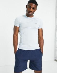 Облегающая спортивная футболка из быстросохнущей ткани голубого цвета с логотипом ASOS 4505-Голубой