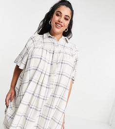 Свободное платье-рубашка мини в клетку с рукавами-кимоно ASOS DESIGN Curve-Многоцветный