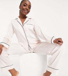 Розовая атласная пижама с рубашкой с длинными рукавами и штанами ASOS DESIGN Tall-Белый