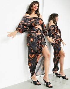 Атласная юбка с драпировкой спереди и мраморным принтом на темном фоне ASOS EDITION-Многоцветный