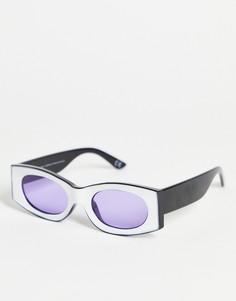 Квадратные солнцезащитные очки в белой оправе с фиолетовыми стеклами ASOS DESIGN-Многоцветный