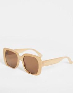 Солнцезащитные очки с крупной квадратной оправой в стиле 70-х молочно-коричневого оттенка ASOS DESIGN Recycled-Коричневый цвет