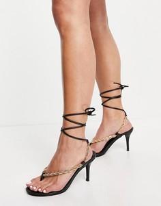 Черные босоножки на каблуке с декоративной цепочкой Public Desire Amarlie-Черный