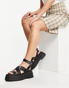 Черные сандалии на массивной подошве с ремешком на щиколотке Public Desire Follow-Черный