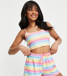 Пижама с укороченной майкой и шортами радужного цвета Loungeable Petite-Многоцветный