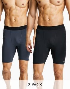 Комплект из 2 пар культовых спортивных тайтсов короткой длины из быстросохнущей ткани ASOS 4505 - СКИДКА-Черный