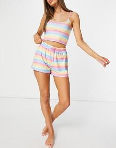 Пижама с укороченной майкой и шортами радужного цвета Loungeable-Многоцветный